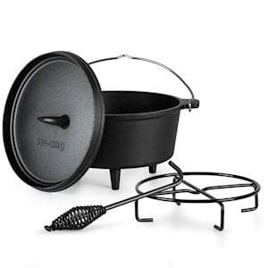Galloway - Dutch oven 4.5, pentola in ghisa | Pretrattata | Piedi d'appoggio | Con leva per sollevare il coperchio e apposito supporto | Misura S: 4.5 qt/3,7 litri