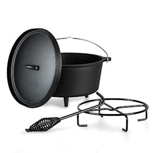Galloway Dutch Oven 9.0 Gusseisen-Topf | voreingebrannt | Standfüße | mit  Deckelheber und Deckelständer | Größe L: 9 qt / 8 Liter