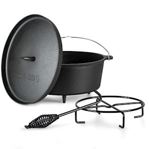 Olla de hierro fundido Galloway 12.0 | marcada | pies de apoyo | con elevador de tapa y soporte de tapa | tamaño XL: 12 qt / 11,5 litros