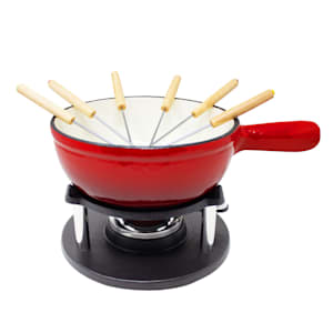 Holsten Fondue | Caquelon | Fondue set: pot, warmer, burner and 6 forks | 2-6 persons | for cheese, broth or chocolate fondue | capacity: 1.5 L | for all types of cooker | cast iron | enamelled
