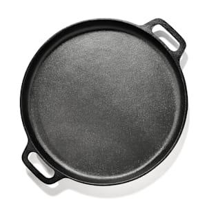 Canadienne ronde grillpan grillplaat gietijzeren pan | materiaal: gietijzer | 35 x 3 cm (ØxH) | ingebrand | 2 handgrepen | gelijkmatige hitteverdeling