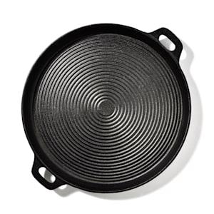 Canadienne ronde grillpan grillplaat gietijzeren pan | geribbeld oppervlak | materiaal: gietijzer | 35 x 3 cm (ØxH) | ingebrand | 2 handgrepen | gelijkmatige hitteverdeling