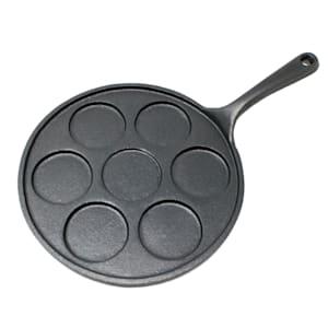 Malvi pannenkoekenpan | gietijzer | rond | voor 7 pannenkoeken | voor alle soorten fornuizen, barbecues, grills en kampvuren | ovenvast | ingebrand | pannenkoeken met 6,3 cm Ø | doorsnede: Ø 23,5 cm