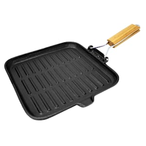 Retinta grill- en steakpan | gietijzer | voor alle soorten fornuizen, barbecues, grills en kampvuren | outdoor cooking | ingebrand | afvoergoot | met uitklapbaar houten handvat | geribbeld braadoppervlak | vierkant | afmetingen: 38 x 2 x 24 cm (BxHxD)