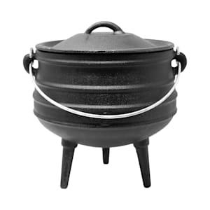 Beefalo - Potjie, pentola sudafricana per brasati | Su carbonella, fuoco o griglie a gas | Forma: rotonda | Con coperchio e 3 piedi d'appoggio | Ghisa | Misura S : 3 litri