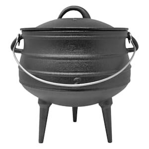 Beefalo - Potjie, pentola sudafricana per brasati | Su carbonella, fuoco o griglie a gas | Forma: rotonda | Con coperchio e 3 piedi d'appoggio | Ghisa | Misura M : 6 litri