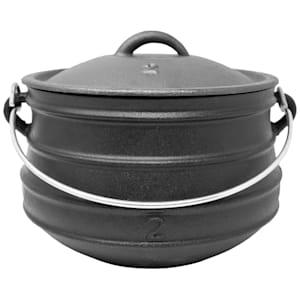 Beefalo Potjie Pot casserole sud-africaine | sur les grilles de charbon de bois, de feu ou de gaz | forme : ronde | avec couvercle | en fonte | taille M : 6 litres
