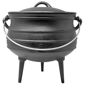 Beefalo - Potjie, pentola sudafricana per brasati | Su carbonella, fuoco o griglie a gas | Forma: rotonda | Con coperchio e 3 piedi d'appoggio | Ghisa | Misura L: 8 litri