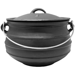 Beefalo - Potjie, pentola sudafricana per brasati | Su carbonella, fuoco o griglie a gas | Forma: rotonda | Con coperchio | Ghisa | Misura L: 8 litri