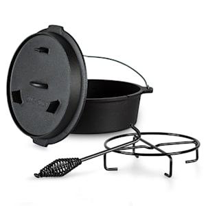 Four hollandais Guernsey Premium 6.0 Pot en fonte | pré-cuit | avec lève-couvercle et support de couvercle | emplacement pour thermomètre | taille M : 6 qt / 5,7 litres