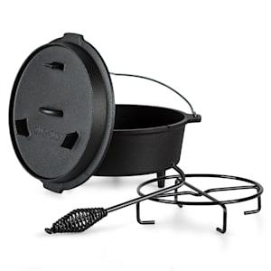Guernsey - Premium dutch oven 4.5, pentola in ghisa | Pretrattata | Piedi d'appoggio | Con leva per sollevare il coperchio e apposito supporto | Apertura per termometro | Misura S: 4.5 qt/3,7 litri