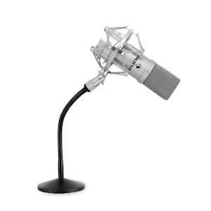 Set de estudio - Micrófono USB y trípode plateado