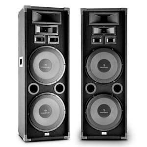 "PA-2200 2er-Set Fullrange HiFi PA-Lautsprecher 2x12"" Tieftöner 2000W max."