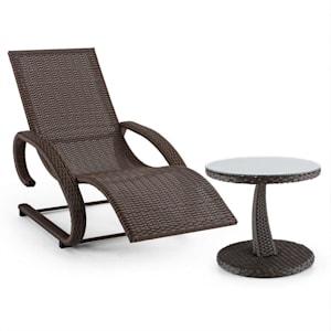 Daybreak Chaise longue à bascule + table style vannerie - marron