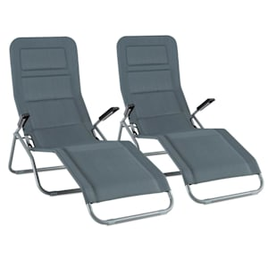 Vitello Noble Grey Sunlounger set of 2 sunbeds dry foam grey