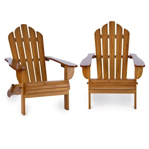 Vermont Garden Chair 2-piece Set Adirondack Style Fir Wood Brown