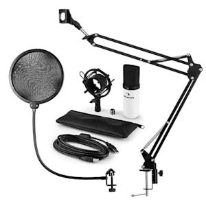 MIC-900WH USB Mikrofonset V4 Kondensatormikrofon Pop-Schutz Mikroarm weiß