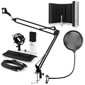 MIC-900WH USB Microphone Set V5 Condenser Pop Filter Microphone Shield Arm White