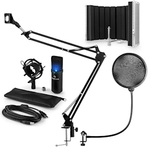 MIC-900B-LED USB Mikrofonset V5 Kondensator Pop-Schutz Schirm Arm schwarz