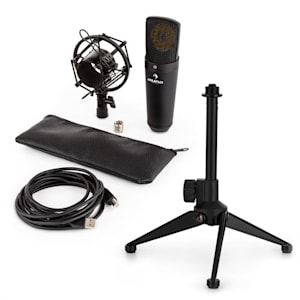 MIC-920B USB Mikrofon Set V1 - schwarzes Großmembran-Mikrofon & Tischstativ