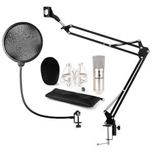 CM001S Mikrofon-Set V4 Kondensatormikrofon Mikrofonarm POP-Schutz silber