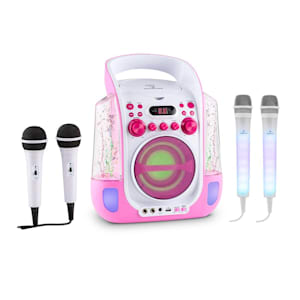 Kara Liquida Pink + Dazzl Mic Set Karaoke Microphone LED Lighting