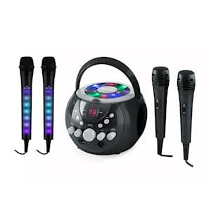 SingSing schwarz + Dazzl Mic Set Karaokeanlage Mikrofon LED-Beleuchtung
