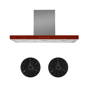 Bon Vivant Rouge hotte aspirante kit recyclage d'air filtre à charbon actif rouge