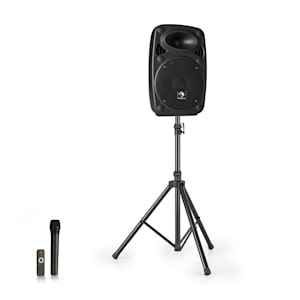 "Streetstar 8 impianto PA portatile + treppiede woofer da 8"" microfono UHF da 200 W nero"