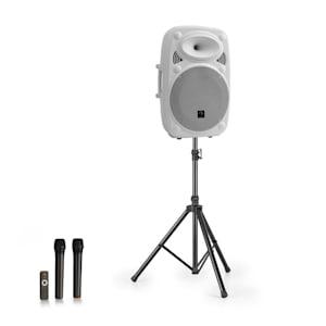 "Streetstar 15 impianto PA portatile + treppiede woofer da 15"" microfono UHF 1000W bianco"