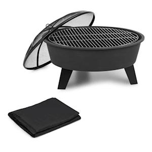 Nolana 2 u 1, spremnik za vatru i roštilj, Ø 73 cm zaštita protiv iskrenja, Ø 64 cm roštilj, zaštitni pokrivač, čelik, crna