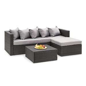 Theia Lounge Set, záhradná sedacia súprava, čierna/svetlosivá