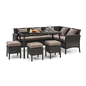 Titania Lounge Salon de jardin complet polyrotin noir & marron
