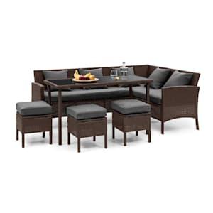 Titania Lounge Salon de jardin complet polyrotin marron & gris foncé