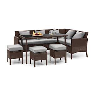 Titania Dining Lounge Set Muebles de jardín Marrón/Gris claro