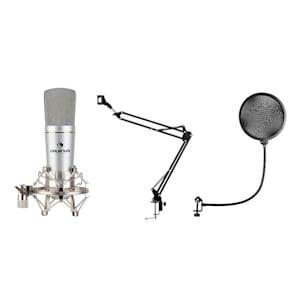 MIC-920 USB Mikrofon-Set V4 Kondensatormikrofon Mikrofonarm POP-Schutz silber