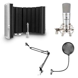 MIC-920 USB Mikrofon-Set V5 Kondensatormikrofon Mikrofonarm POP-Schutz Mikrofonabschirmung silber