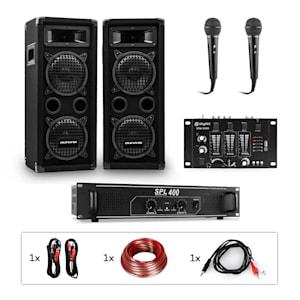 PW-65x22 MKII PA-Karaoke-Set Verstärker + 2 passive PA-Boxen + Mixer + 2 Mikros