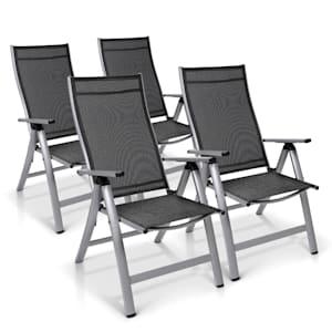 London Gartenstuhl 4er-Set Textilene Aluminium 6-Positionen klappbar