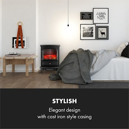 Moritz Electric Fireplace /• Heater /• 1800 W /• Flame Simulation /• Built-In Fan Heater /• Glass Front Panel /• Nostalgic Design /• Adjustable Flame Brightness /• White Klarstein St
