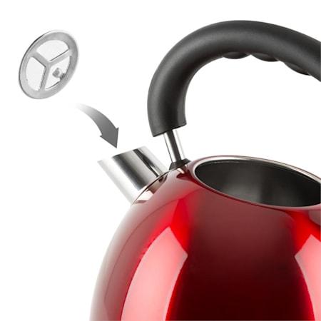 rojo Hervidor de acero inoxidable ligero de 2,5 l.