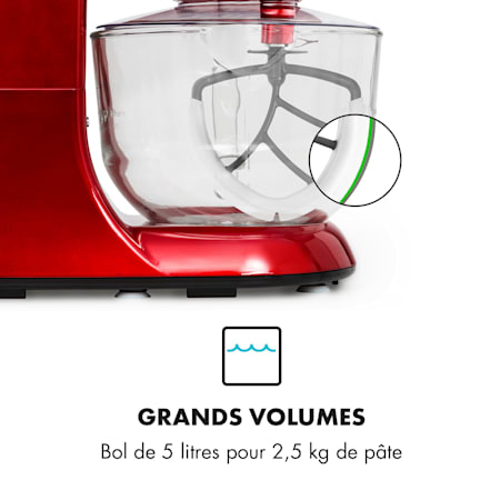 Bella Rossa 2g Robot De Cuisine 1200w Bol En Verre 2 5 5l Rouge