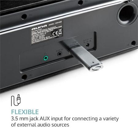 /& UKW-RDS e AM//FM /• Telecomando Incluso /• Display LCD /• Funzione Sveglia /• RDS /• AUX /• Noce Auna Worldwide Stereo /• Radio Internet Wireless /• Spotify Connect /• App Control /• Dab//Dab