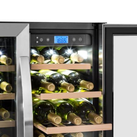 Panel t/áctil Temperatura regulable Volumen 12 botellas // 33 L Carb/ón Puerta acristalada 4 estantes metal cromado Klarstein Bellevin Duo Nevera para vinos 38 dB Pantalla LED 2 zonas EEC A