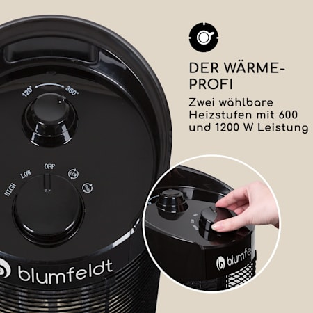 2 Heizstufen IPX4 IR ComfortHeat kompakt 350//700 Watt Tragegriff blumfeldt Heat Guru Oszillation: 360/° // 120/° schwarz Infrarot-Heizstrahler Standheizstrahler Elektroheizung