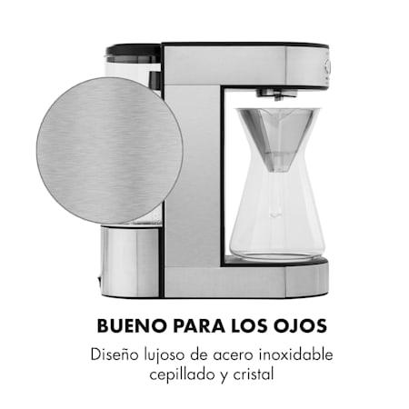 Klarstein Perfect Brew cafetera de filtro con cabezal giratorio /• M/áquina de caf/é /• 1800W /• 1,8L /• Control digital /• Programable /• Conserva el calor /• Jarra de vidrio /• Acero /• Plateado