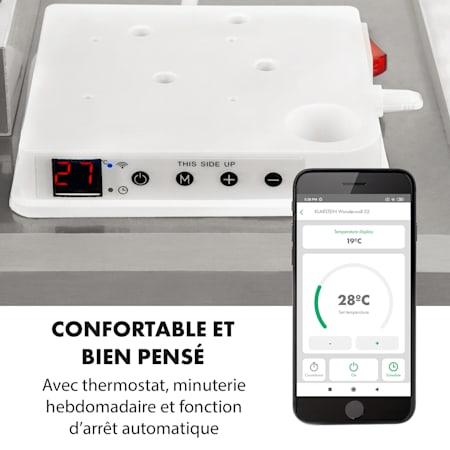 Thermostat Panneau Chauffant en Pierre 80x60 cm 550 W Blanc radiateur Infrarouge /électrique KLARSTEIN Wonderwall Earth Silencieux minuterie hebdomadaire Surface utile jusqu/à 11 m/²