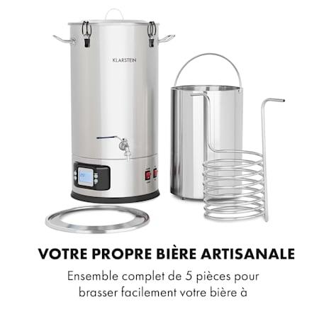 Cuve de Brassage Bière Maison Robinet Affichage Température Écran LCD 35L Inox