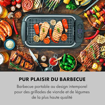 Barbecue Électrique 230° Grill Sans Fumée Four Commande Tactile Inox 1500W Noir