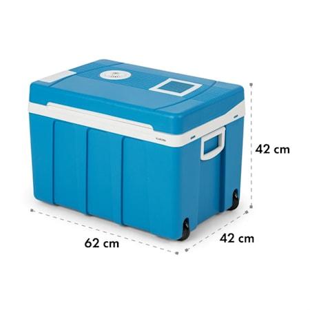 Zugstange und Bodenrollen /• f/ür Auto Tragegriffen Klarstein BeerPacker Thermoelektrische K/ühl-//Warmhalte-Box /• 50 L /• A+++ /• 12 V und 230 V /• Eco-Modus /• inkl LKW Camping /• f/ür Bierkasten /• blau